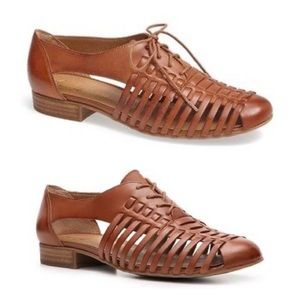 Franco Sarto Andrews Brown Leather Cut Out Oxfords